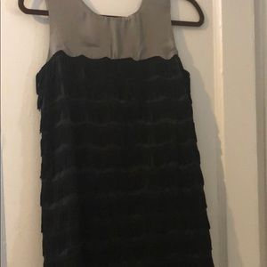 Fringed black and grey top dress
